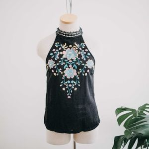 About a Girl / Black Floral High Neck Tank